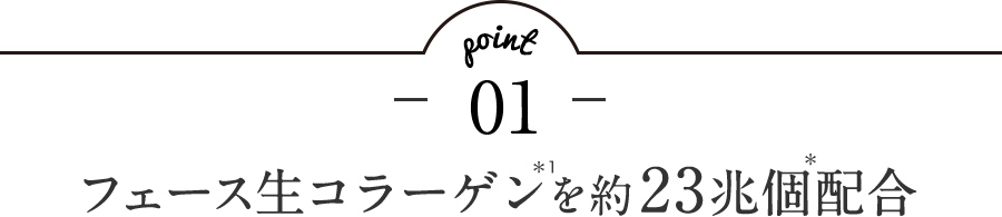 point1 フェース生コラーゲン*1を約23兆個*配合